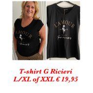 T shirt G Ricirie  zwart met camel G Ricieri
